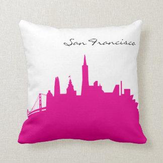 Hot Pink and White San Francisco Skyline Cushion