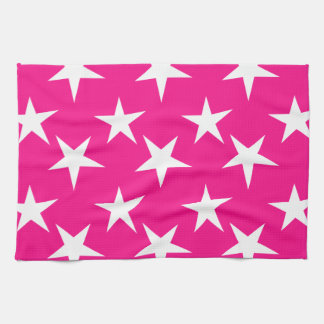 Hot Pink and White Stars Hand Towels
