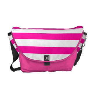 Hot Pink and White Stripe Pattern Messenger Bag