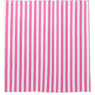 Hot Pink And White Stripes Shower Curtain