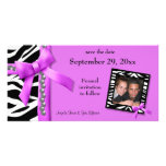 Hot Pink And White Zebra Gems Save The Date Card Personalised Photo Card