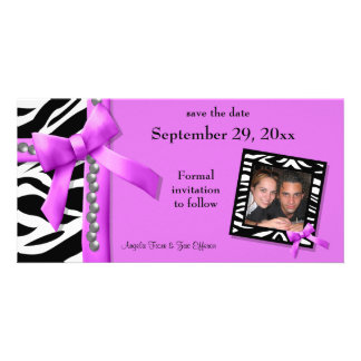 Hot Pink And White Zebra Gems Save The Date Card Customized Photo Card