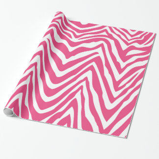 Hot Pink and White Zebra Stripes Animal Print Wrapping Paper