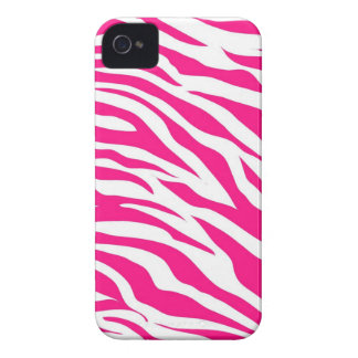 Hot Pink and White Zebra Stripes Wild Animal Print Case-Mate iPhone 4 Cases