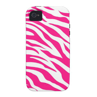 Hot Pink and White Zebra Stripes Wild Animal Print Case-Mate iPhone 4 Case
