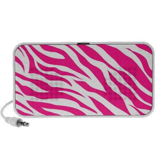 Hot Pink and White Zebra Stripes Wild Animal Print PC Speakers