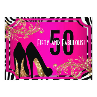 Hot Pink and Zebra 50th Birthday Party Invitation