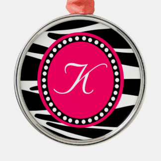 Hot Pink and Zebra Stripe Monogrammed Ornament