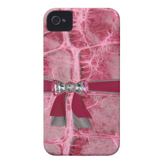 Hot Pink Animal Skin Print & Bows IPHONE4 Case iPhone 4 Cover