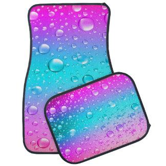 Hot Pink & Aqua Blue Gradient Water Droplets Floor Mat