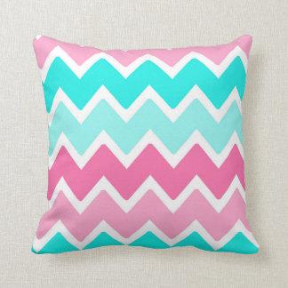 Hot Pink Aqua Turquoise Blue Ombre Chevron Throw Pillow
