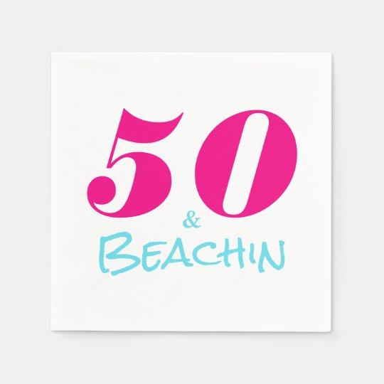 Hot Pink Aquamarine 50 & Beachin Paper Napkin