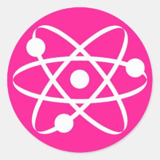 Hot Pink Atom Round Stickers