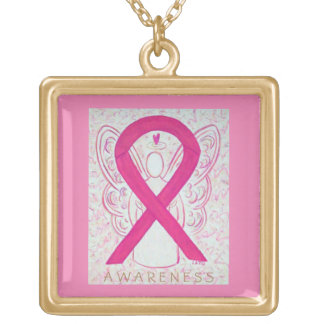 Hot Pink Awareness Ribbon Angel Necklace