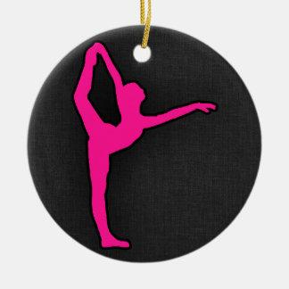 Hot Pink Ballet Dancer Round Ceramic Decoration