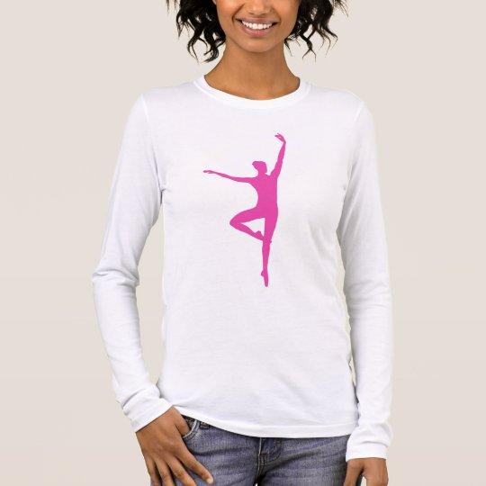 Hot Pink Ballet Dancer Ladies Long Sleeve Shirt