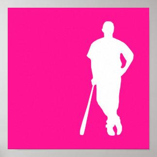 Hot Pink Baseball; softball Poster
