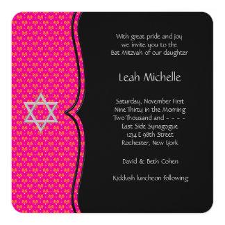 Hot Pink Bat Mitzvah Card