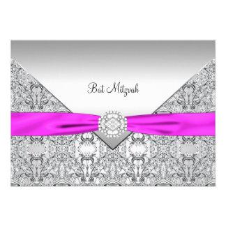 Hot Pink Bat Mitzvah Custom Invites