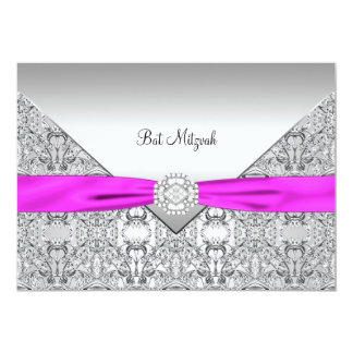 Hot Pink Bat Mitzvah 5x7 Paper Invitation Card