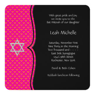 Hot Pink Bat Mitzvah 5.25x5.25 Square Paper Invitation Card