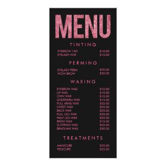 Hot Pink Beauty Salon Beautician Menu Price List Customized Rack Card