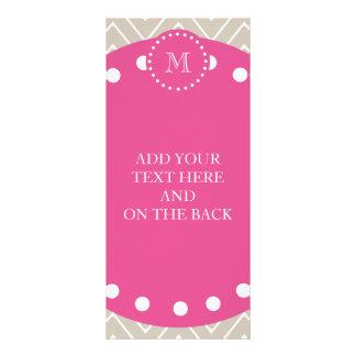 Hot Pink, Beige Chevron | Your Monogram Full Color Rack Card