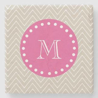 Hot Pink, Beige Chevron | Your Monogram Stone Coaster