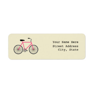 Hot Pink Bicycle Address Label