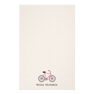 Hot Pink Bicycle Personalized Stationery