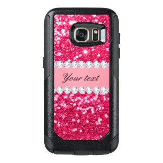 Hot Pink Big Faux Glitter with Diamonds OtterBox Samsung Galaxy S7 Case