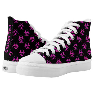 Hot Pink Biohazard Pattern Shoes w/ Custom Text