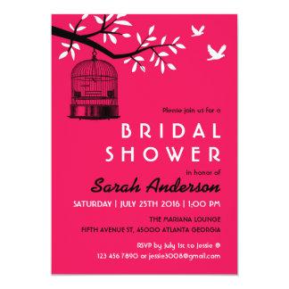 Hot Pink Bird Cage Bridal Shower Invitation