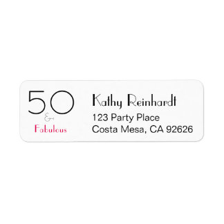 Hot Pink Black 50 and Fabulous Birthday Return Address Label