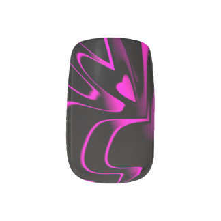Hot Pink/Black Abstract Minx Minx Nail Art