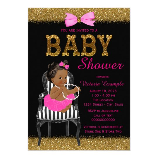 Hot Pink Black and Gold Ethnic Girl Baby