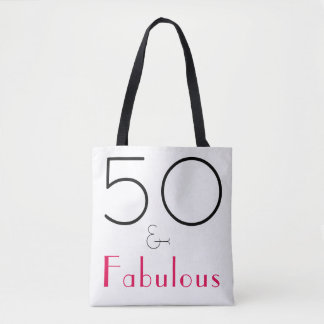 Hot Pink, Black and white 50 and Fabulous Tote Bag