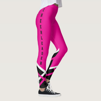 Hot Pink, Black and White Cheerleader Megaphone Leggings