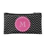 Hot Pink, Black and White Chevron   Your Monogram Cosmetic Bag