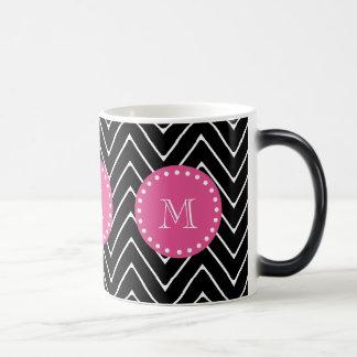 Hot Pink, Black and White Chevron | Your Monogram Morphing Mug