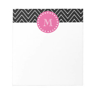 Hot Pink, Black and White Chevron | Your Monogram Notepad