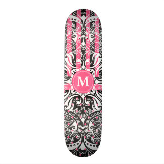 Hot Pink, Black and White Mandala  - Monogram 21.3 Cm Mini Skateboard Deck