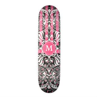 Hot Pink, Black and White Mandala  - Monogram Skateboard