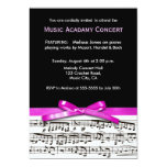 Hot Pink Black and white music recital concert 13 Cm X 18 Cm Invitation Card