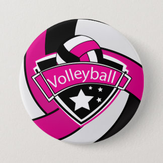 Hot Pink, Black and White Volleyball 7.5 Cm Round Badge