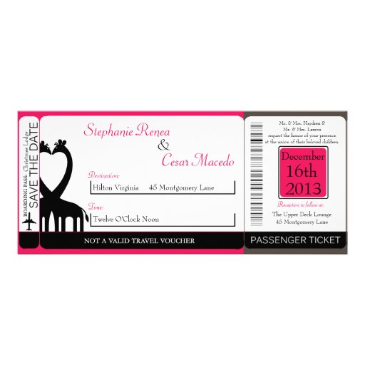 Hot Pink/Black Boarding Pass Wedding Invitation
