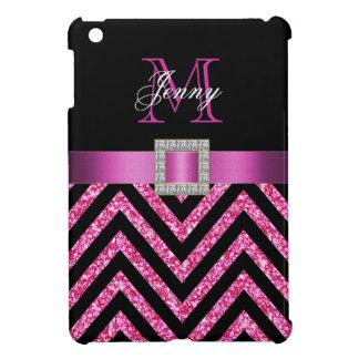 HOT PINK BLACK CHEVRON GLITTER GIRLY iPad MINI COVER