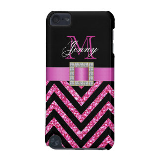 HOT PINK BLACK CHEVRON GLITTER GIRLY iPod TOUCH (5TH GENERATION) CASES
