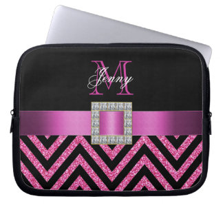HOT PINK BLACK CHEVRON GLITTER GIRLY LAPTOP SLEEVE