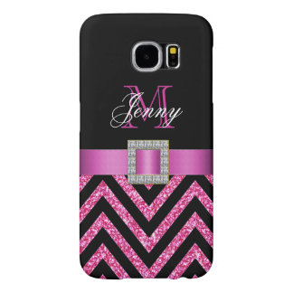 Hot Pink Black Chevron Glitter Girly Samsung Galaxy S6 Cases